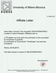 Affilateed letter Milano Bicocca University DMI