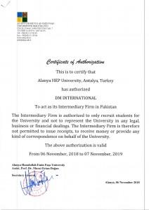 Certificate Alanya hep University Turkey DMI